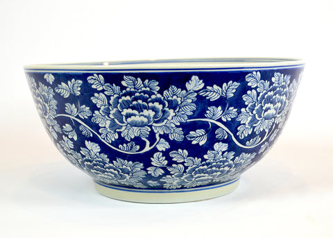 Blue and White Peony Patterned Bowl #BWCT117