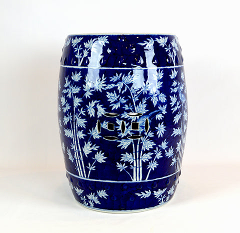 Blue and White Bamboo Print Garden Stool #BWCT122