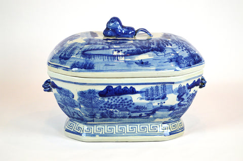 Blue and White Urn with Lid #BWCT124