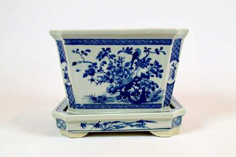 Blue and White Square Planter with Tray #BWCT126