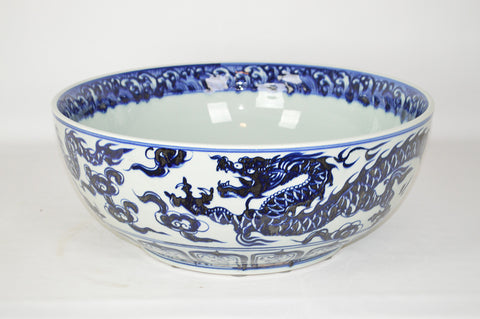 Large blue and White Dragon Pattern Porcelain Bowl #BWCT137