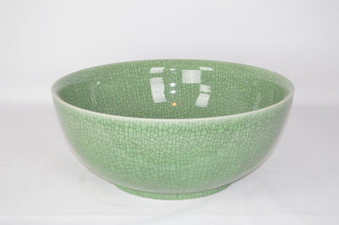 Large Green Ceramic Crackle Bowl