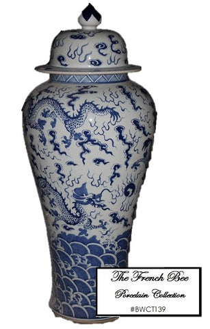 Tall Lidded Ginger Jar with Dragon Pattern BWCT139
