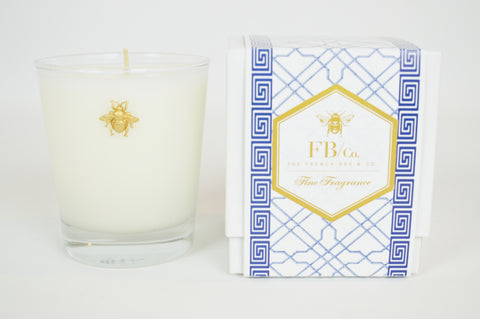 Thick Glass Candle with Gold Bee in Blue Fretwork Box #180
