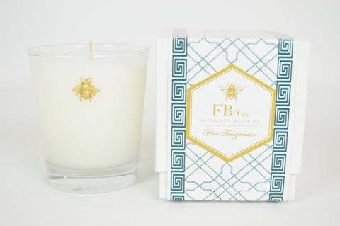 Thick Glass Candle with Gold Bee in Teal Fretwork Box #182