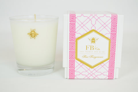 Thick Glass Candle with Gold Bee in Pink Fretwork Box #183
