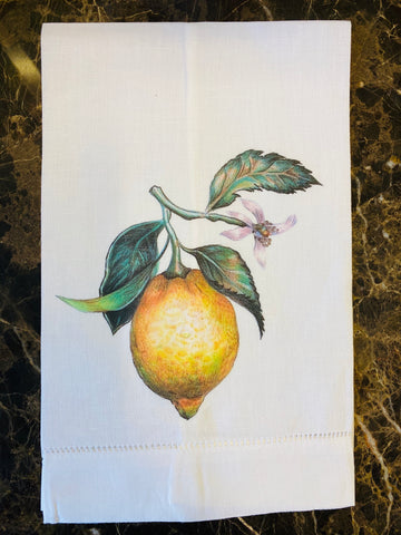 Lemon Linen Guest Towel, Set Of Two