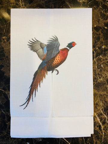 Pheasant Linen Guest Towel, Set of Two