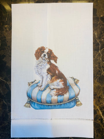 King Charles Cavalier Linen Guest Towel, Set of Two