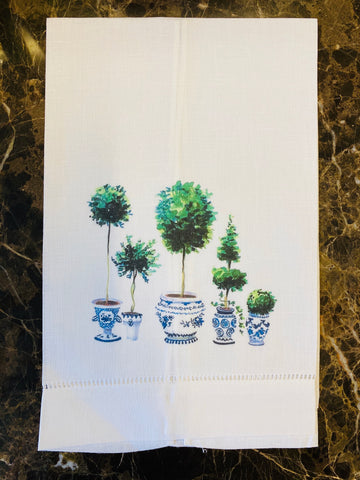 Set of Topiaries Linen Guest Towel, Set of Two