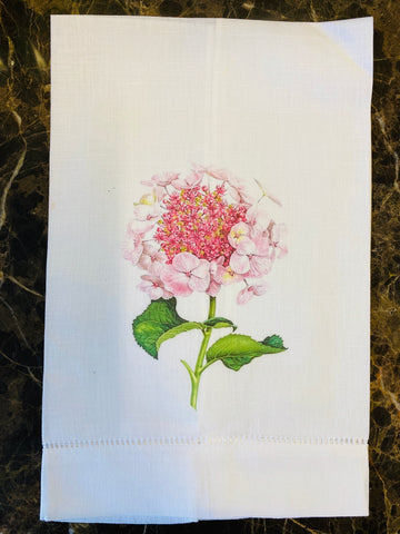 Pink Hydrangea Linen Guest Towel, Set of Two