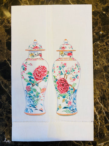 Twin Chinoiserie Vases Guest Towels, Set of Two