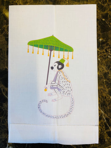 Monkey With Umbrella Linen Guest Towel, Set of Two