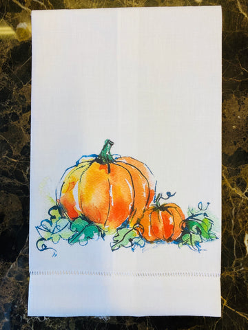 Pumpkin Patch White Linen Guest Towel/Set of Two