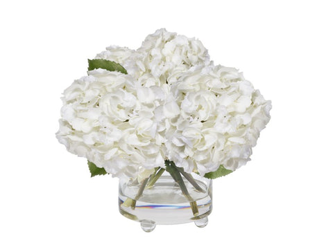 HYDRANGEA IN GLASS VASE 14.5''  JB337-WH00