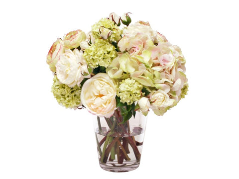 Hydrangea Rose Mix in Flared Vase #1SDP363WHGR00