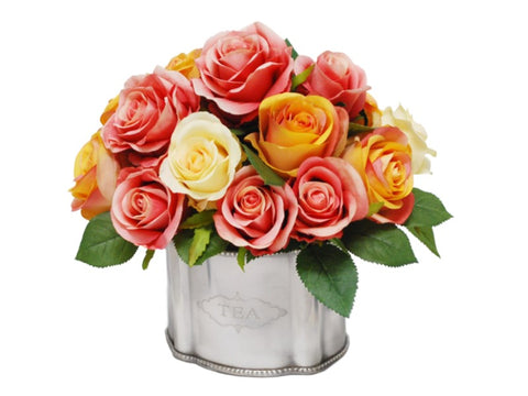 Rose Mix in Tea Container #1SDP414GOPK00
