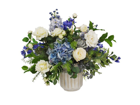 DELPHINIUM HYDRAN ROSES CENTERPIECE  #91523.BLWH00