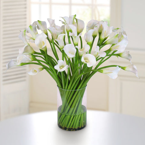 CALLA LILY IN CLEAR CYLINDER VASE #1083.WW00