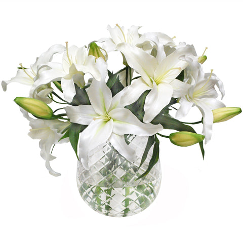 LILY CASABLANCA IN DIAMOND CUT VASE #1126.WH00