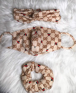 Gucci Designer Inspired Mask Set - Beige