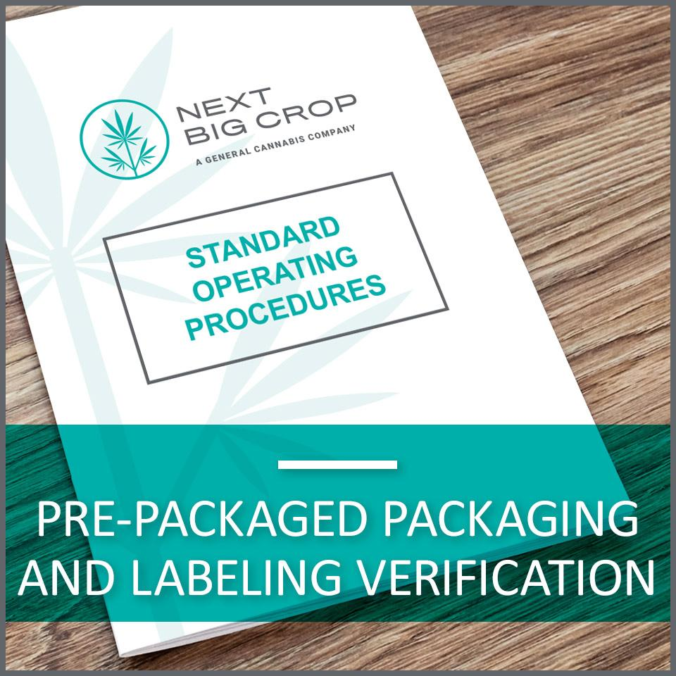Pre-Packaged Packaging and Labeling Verification D-PLC-SOP-001