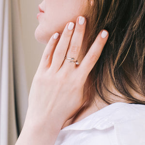 Silver Dainty Snake Ring - Green Eyes