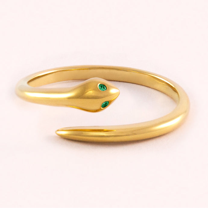 Dainty Snake Ring - Green Eyes
