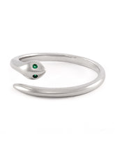 Load image into Gallery viewer, Silver Dainty Snake Ring - Green Eyes