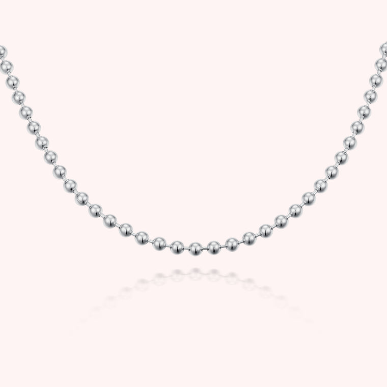 Silver Essential Ball Necklace - Short