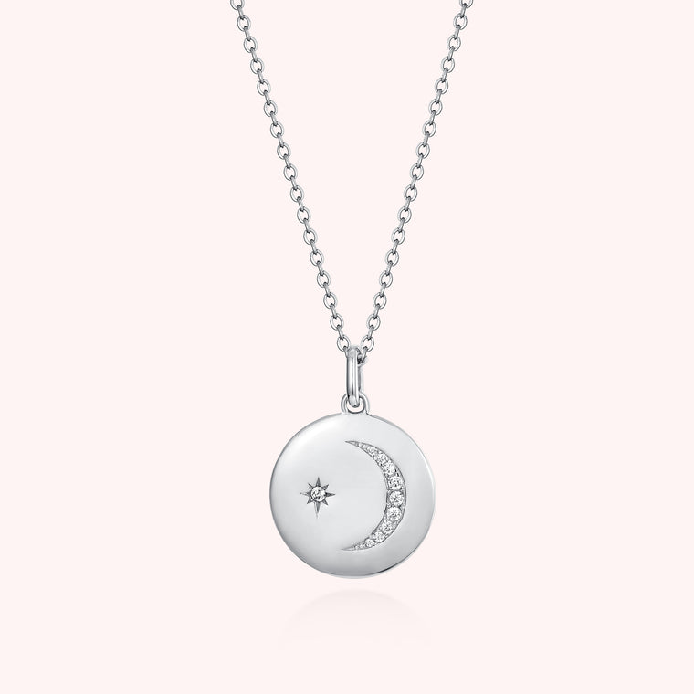 Silver Moon And Star Necklace