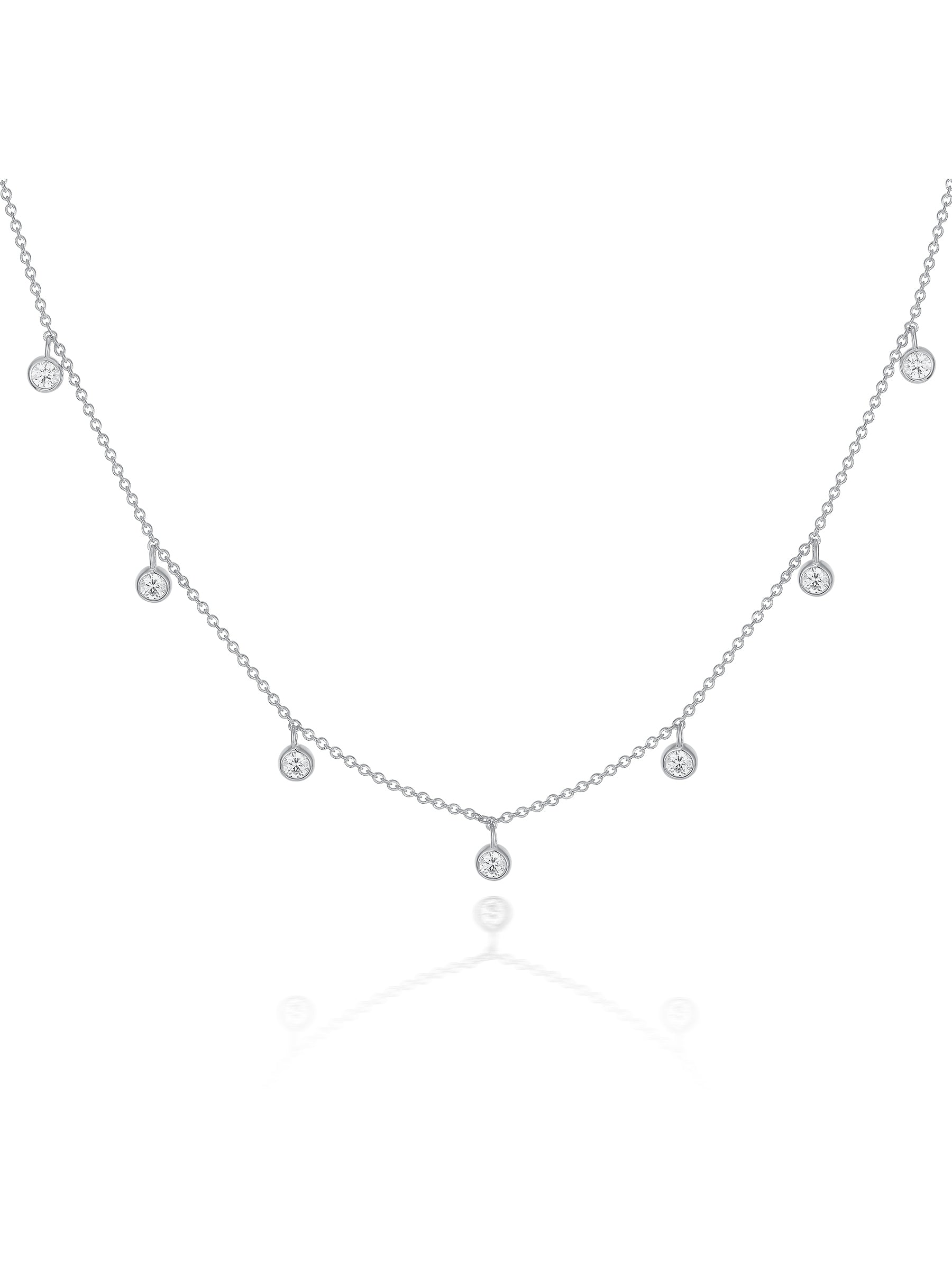 Silver Crystal Drop Necklace