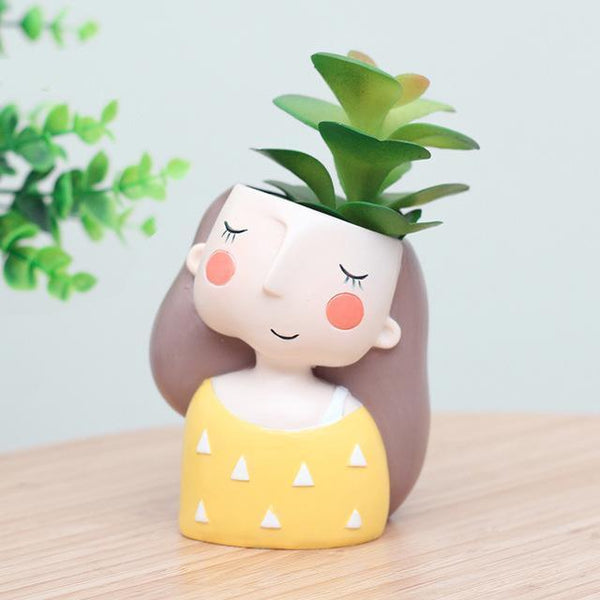 Cute Girl Flower/Plant Pot