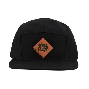 Black 5-Panel Patch Snapback
