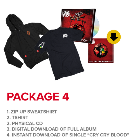 "Package 4: Hoodie + T-shirt + CD + Instant Download Of ""Cry Cry Blood"" Single"