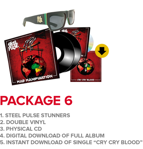 "Package 6: Steel Pulse Stunners + Regular Vinyl + CD + Instant Download Of ""Cry Cry Blood"" Single"