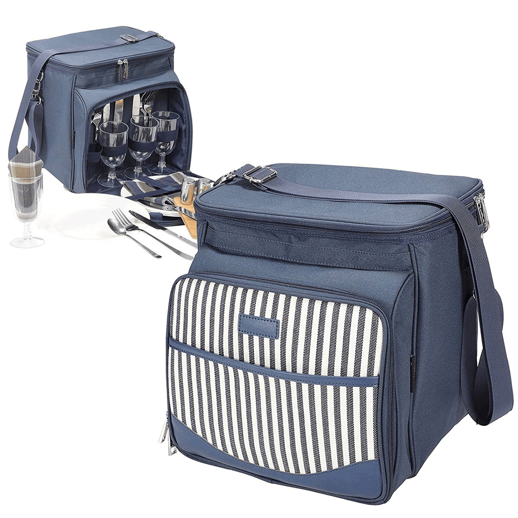 Normandie Picnic Tote Set | 4 Person Service