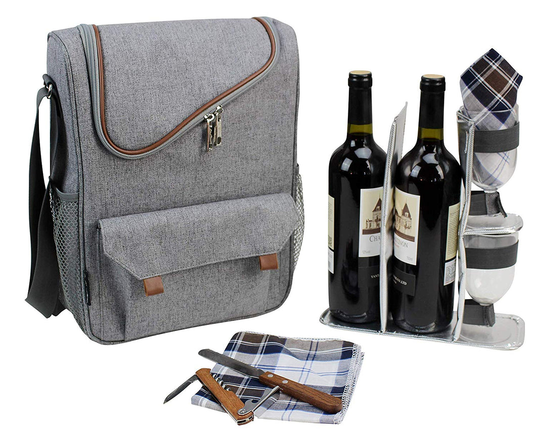 Berkeley Wine Tote Grey | 2 Person Service
