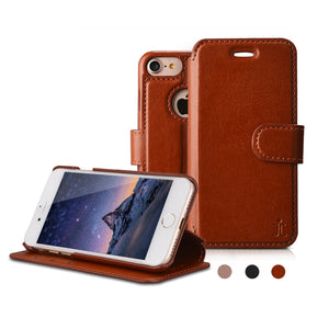 PEP STEP iPhone 7/6/6s Flip Case Stand PU Leather Wallet Case Cover Slim Fit Line Drop Proof Card Slot Pocket Dust Proof Anti scratch Micro Fiber Access Ports, Leather Wallet iPhone 7 [Brown]