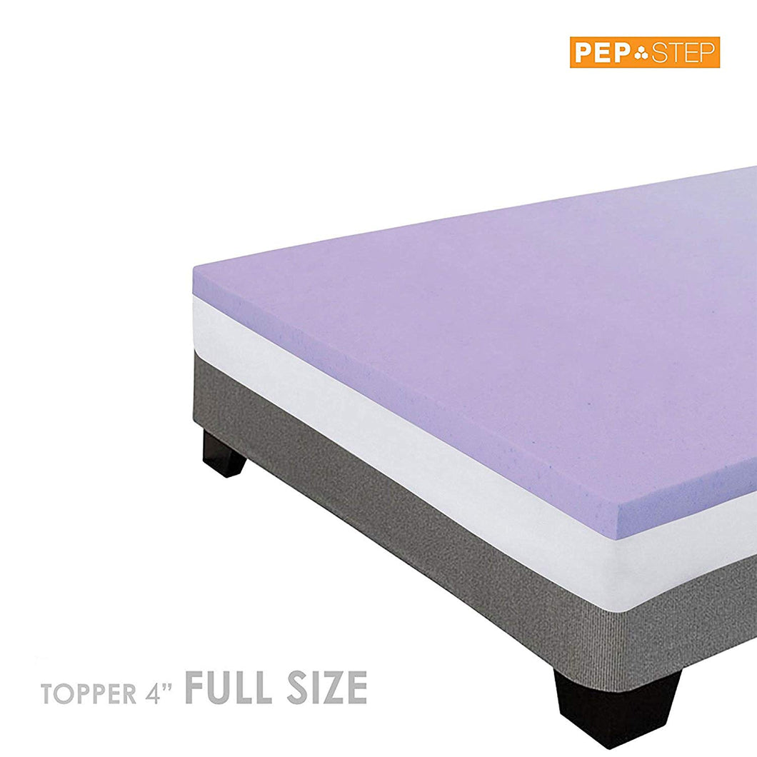 PEP STEP Lavender Infused COOLING GEL Memory Foam Mattress Topper 4 Inch Thick FULL Size Memory Foam Topper Adaptive Pressure Point Relief Support Breathable Technology 5 Year Market Leading Warranty