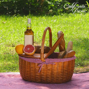 Sierra Double Woodtop Picnic Basket Set