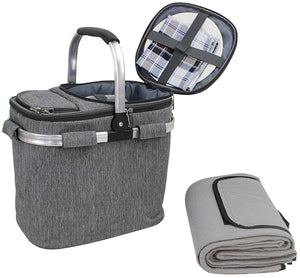 Picnic Tote Set Grey | 4 Person Service