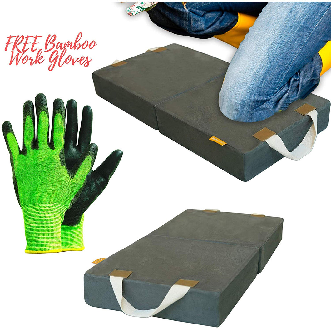 Memory Foam Garden Kneeling Pad With Bamboo Gloves