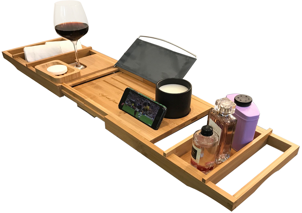 Luxury Bathtub Tray Caddy | Premium Bamboo Bath Tray for Tub | Stable and Convenient Bath Caddy | Fits All Bathtub Accessories Wine Glass, Books, Tablets, Cellphones, Shampoo, Soap | Foldable Design
