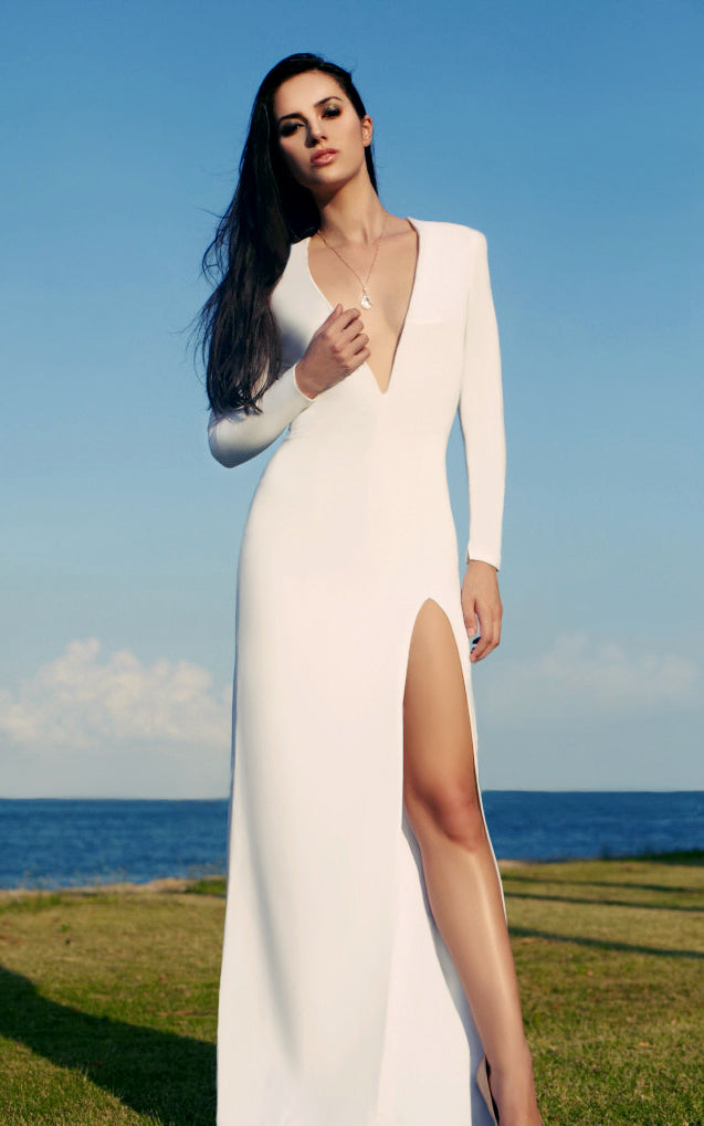 white deep V neck evening dress