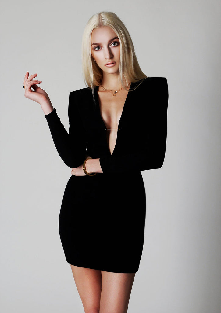 Black deep V neck mini dress