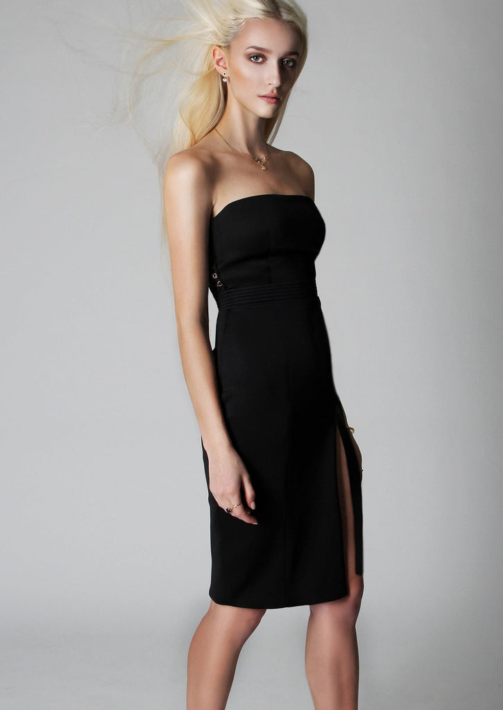 designer black high slit dress