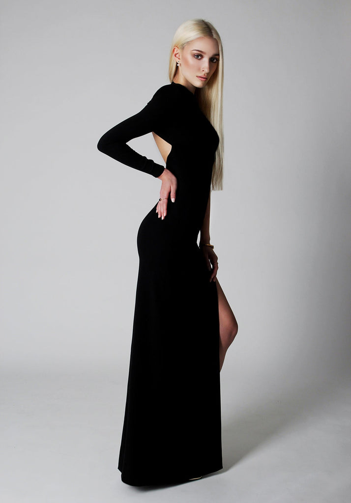One sleeve black evening gown