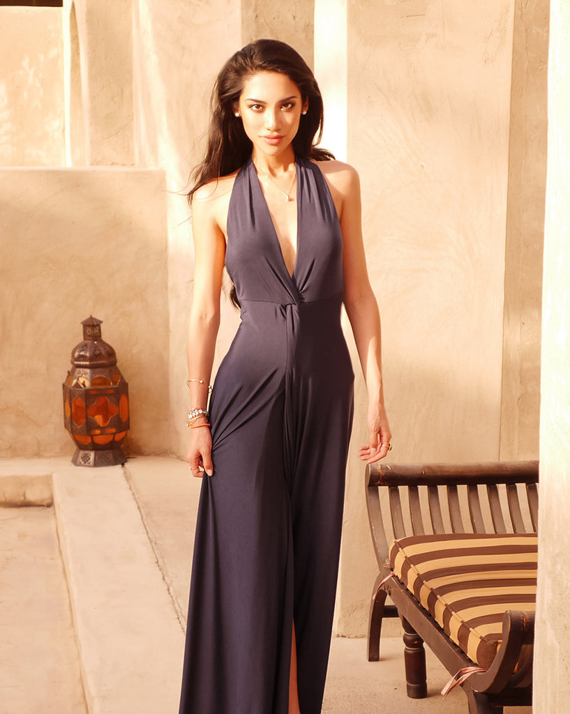 WANG MENG deep V neck jersey maxi dress