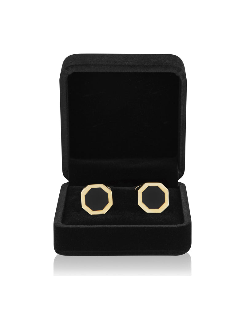 designer men's onyx cufflinks